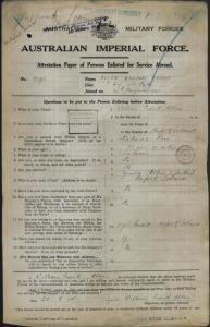 Allen William Francis : SERN DEPOT 2124 : POB Norfolk Island NSW : POE Bathurst NSW : NOK F Allen Gerald