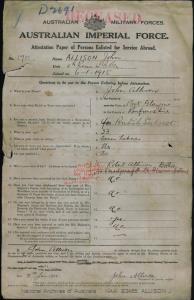 Allison John : SERN 1701 : POB Port Glasgow Scotland : POE Liverpool NSW : NOK B Allison Robert