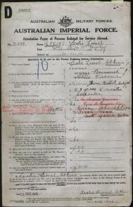 Atkins Leslie Lionel : SERN 22498 : POB Melbourne VIC : POE Melbourne VIC : NOK F Atkins William John