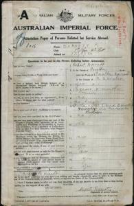 Barnett Rupert : SERN 3016 : POB Teralba NSW : POE Holsworthy NSW : NOK F Barnett David