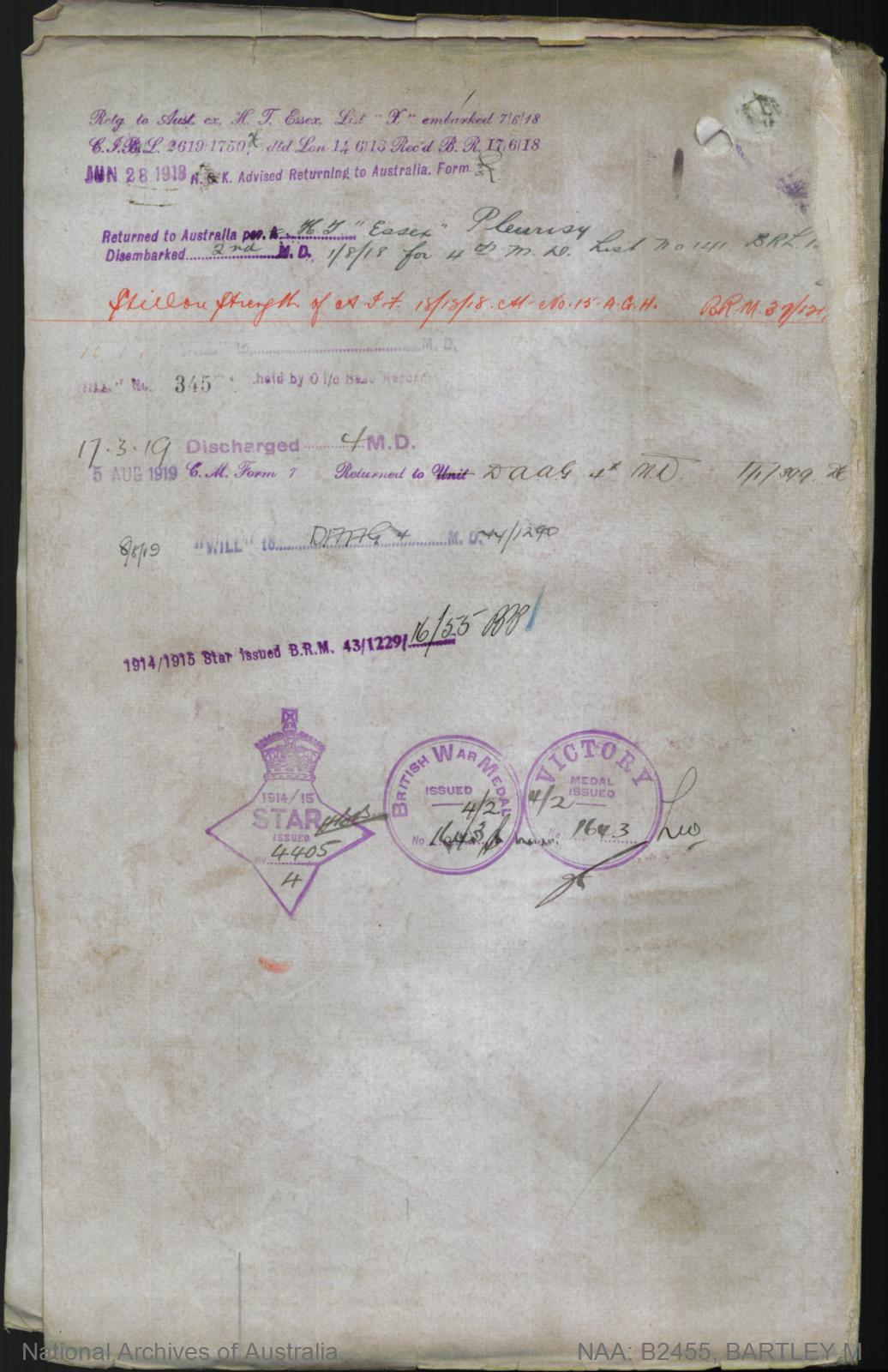 Bartley Maurice : SERN 1237 : POB Minlaton SA : POE Adelaide SA : NOK F Bartley George Andrew
