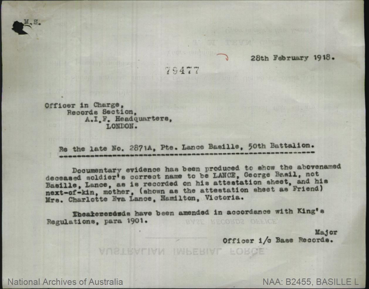 Basille Lance : SERN 2871A [Stated to be George Basil Lance] : POB Casterton VIC : POE Adelaide SA : NOK M Lance Charlotte Eva