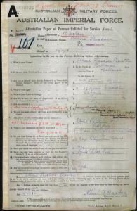 Basten Albert Theodore : SERN 3627 : POB Ballarat VIC : POE Ballarat VIC : NOK S Lynch C