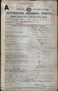 Baulch Edwin Eric : SERN 2871 : POB Warrnambool VIC : POE Hamilton VIC : NOK F Baulch Frederick