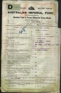 Baulch Ernest Richard Larkin : SERN 7205 : POB Corowa NSW : POE Orange NSW : NOK Warburton Mrs Jane