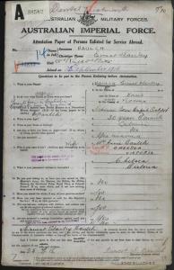 Baulch Ernest Stanley : SERN 6961 : POB Koroit VIC : POE Melbourne VIC : NOK W Baulch Annie