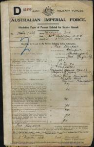 Beardsell Fred : SERN 1469 : POB Holmfirth England : POE Melbourne VIC : NOK F Beardsell George