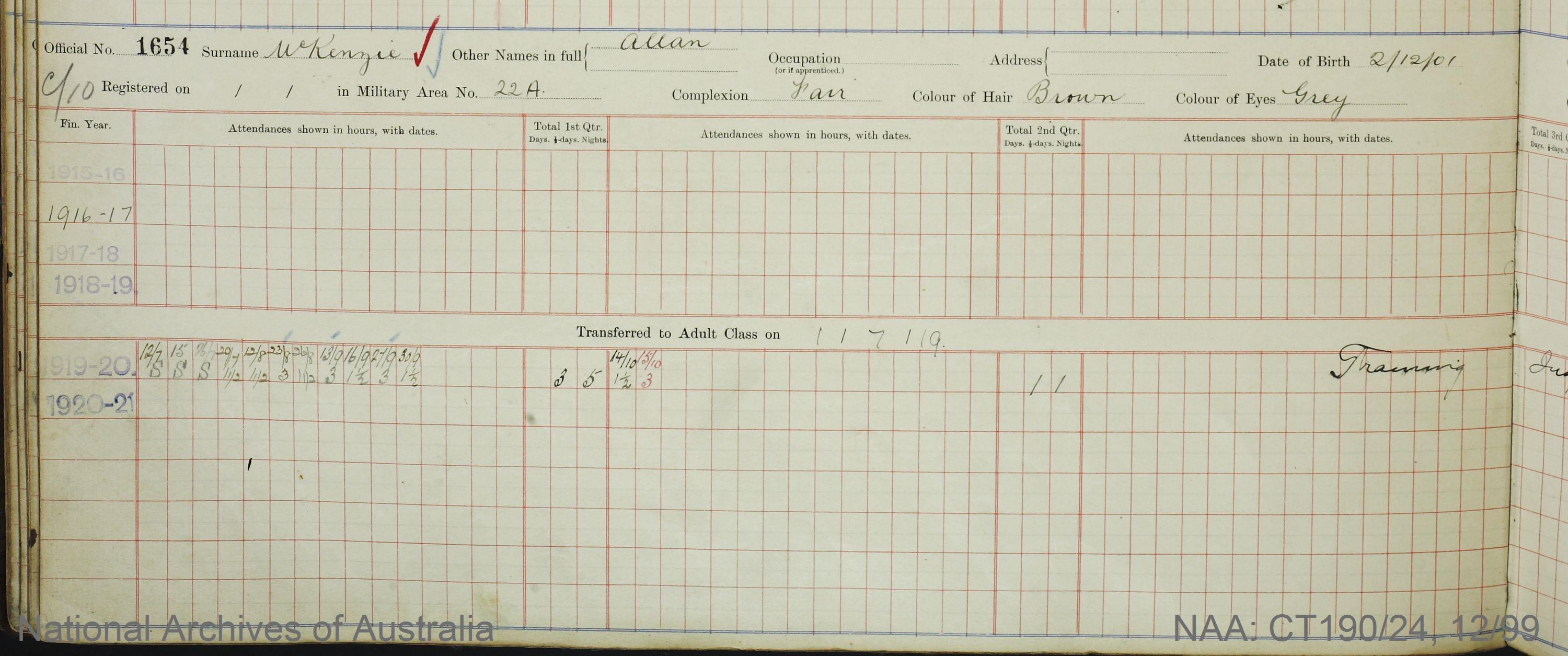 SURNAME - MCKENZIE;  GIVEN NAME(S) - Allan;  OFFICIAL NUMBER - 1654;  DATE OF BIRTH - 2 December 1901;  PLACE OF BIRTH - [Unknown];  NEXT OF KIN - [Unknown];  SERVICE/STATION - Sydney NSW;  REGISTRATION DATE - [Unknown]