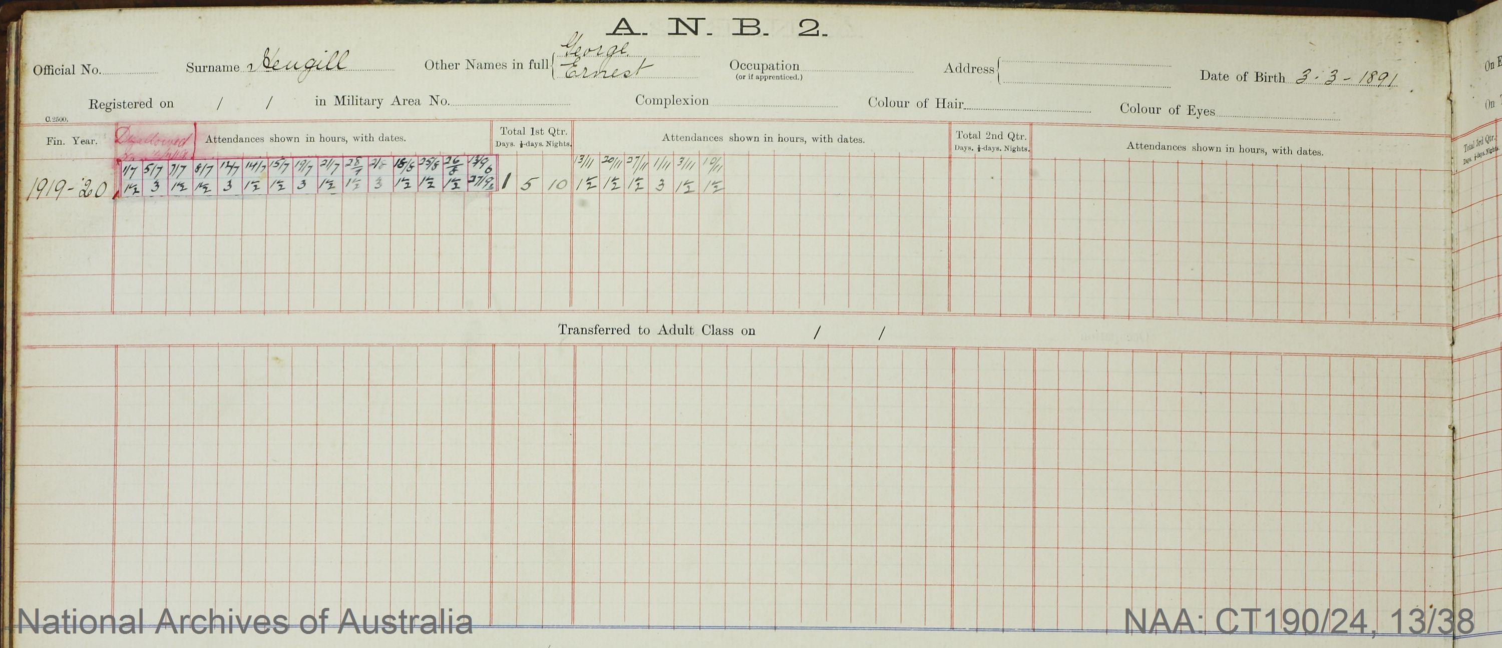 SURNAME - HEUGILL;  GIVEN NAME(S) - George Ernest;  OFFICIAL NUMBER - [Unknown];  DATE OF BIRTH - 3 March 1891;  PLACE OF BIRTH - [Unknown];  NEXT OF KIN - [Unknown];  SERVICE/STATION - Sydney NSW;  REGISTRATION DATE - [Unknown]