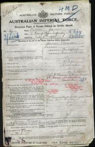 Benson James : SERN 2/LIEUT : POB Bundaberg QLD : POE Keswick SA : NOK W Benson Florence Lilian