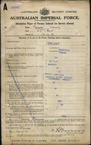 Binns Harry : SERN 34A : POB Manchester England : POE Brisbane QLD : NOK F Binns Law