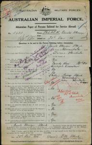 Black Donald Mervyn : SERN 5652 : POB Pambula NSW : POE Nowra NSW : NOK F Black George