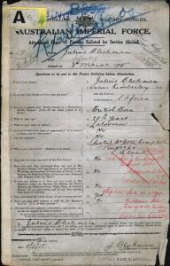 Bleckman Julius : SERN 17 : POB Kimberley South Africa : POE Lismore NSW : NOK S Campbell J W W