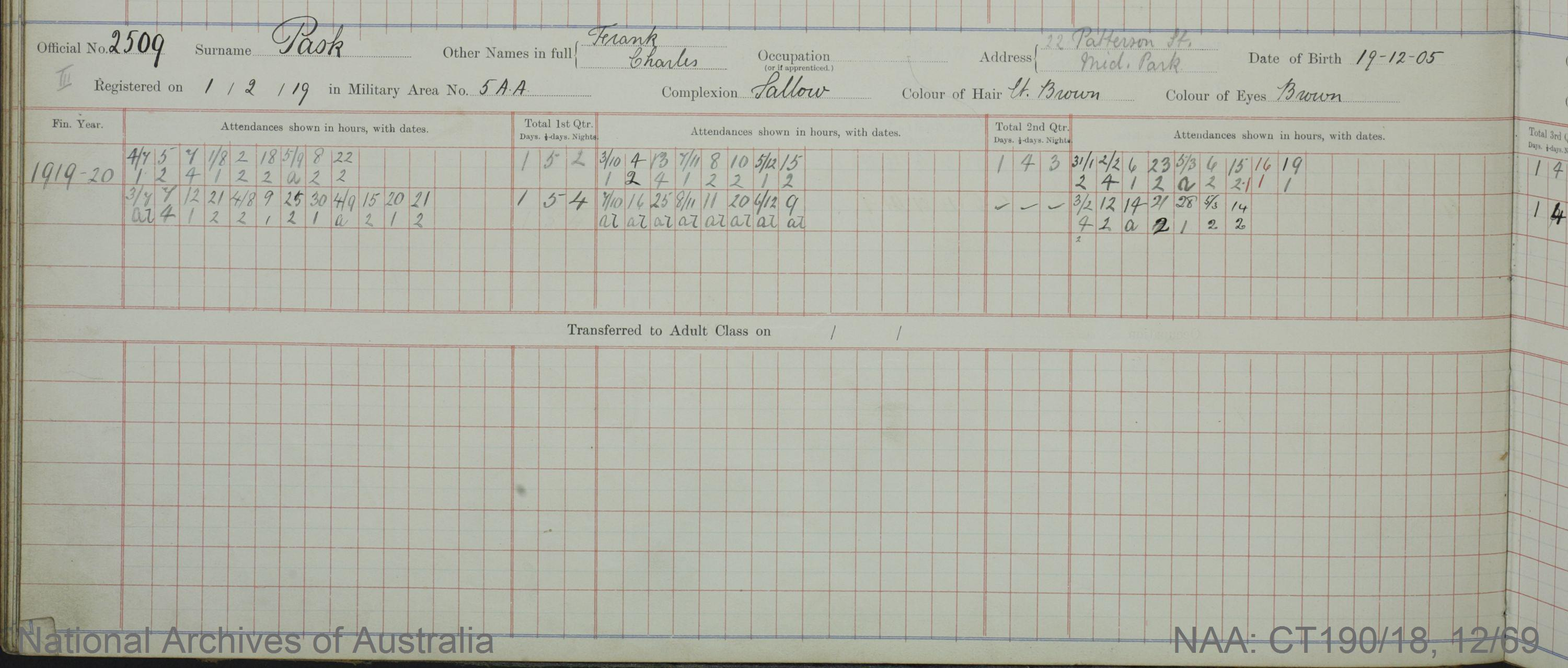 SURNAME - PASK;  GIVEN NAME(S) - Frank Charles;  OFFICIAL NUMBER - 2509;  DATE OF BIRTH - 19 December 1905;  PLACE OF BIRTH - [Unknown];  NEXT OF KIN - [Unknown] ;  SERVICE/STATION - Port Melbourne;  REGISTRATION DATE - 1 February 1919