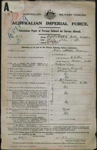 Bodinnar William Adolphus : SERN 856 : POB Whitton NSW : POE Liverpool NSW : NOK Bodinnar A J