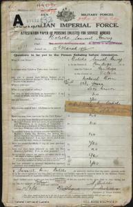 Bolitho Samuel Henry : SERN 411 : POB Bendigo VIC : POE Port Augusta SA : NOK W Bolitho Ann E
