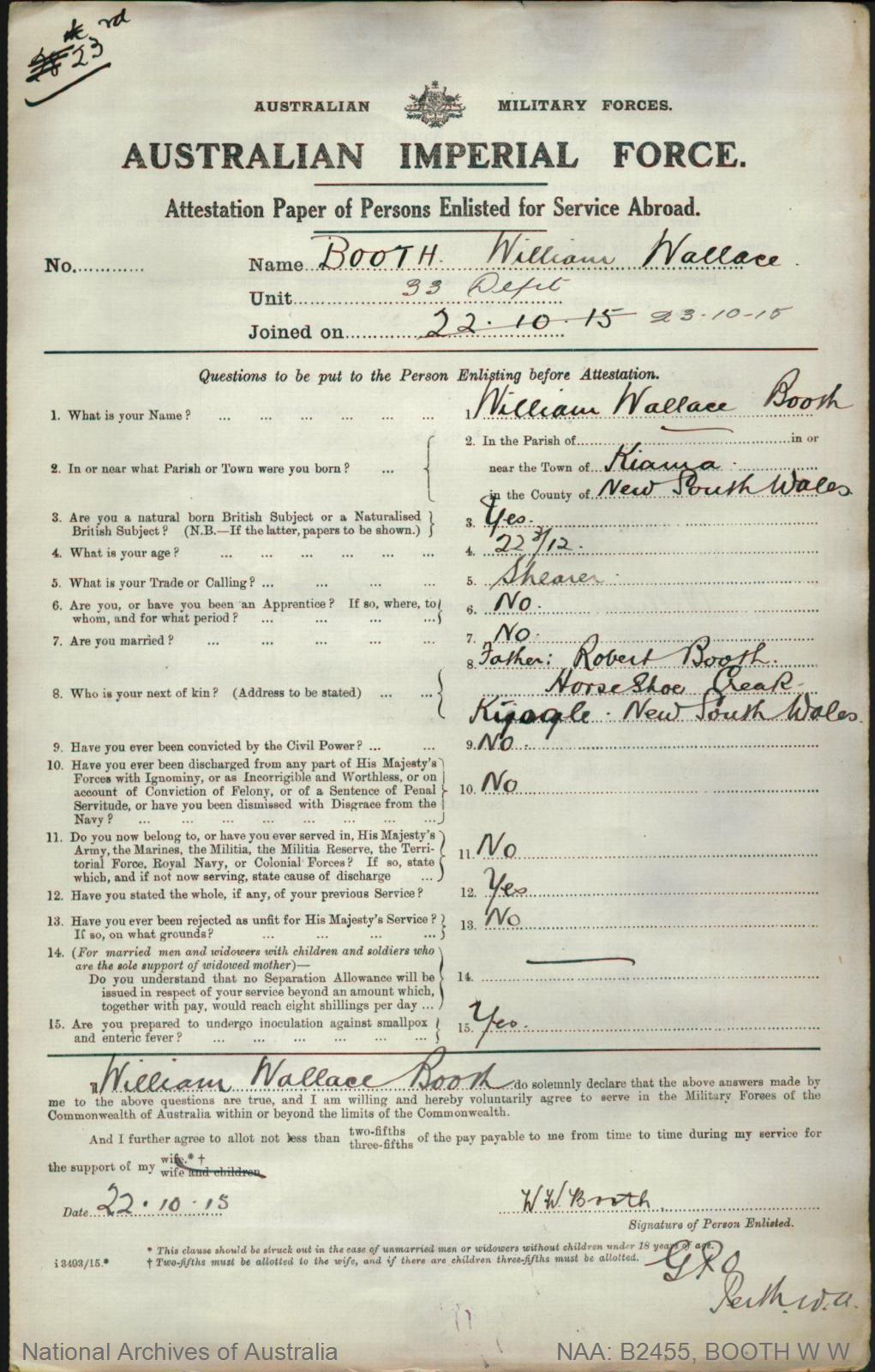 Booth William Wallace : SERN DEPOT : POB Kiama NSW : POE Perth WA : NOK F Booth Robert