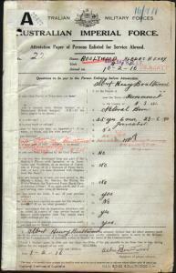 Boultwood Albert Henry : SERN 22 : POB Fernmount NSW : POE Armidale NSW : NOK W Boultwood Ella May