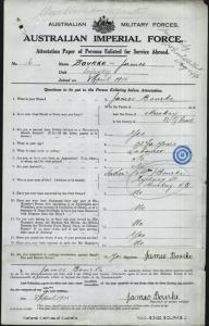Bourke James : SERN 16 : POB Mackay QLD : POE Bundaberg QLD : NOK F Bourke J