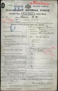 Bowen Henry William : SERN 339 : POB Hesket VIC : POE Rochford VIC : NOK F Bowen John Francis