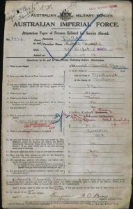 Bray Harold Oswald : SERN 3254 : POB Ballarat VIC : POE Blackboy Hill WA : NOK F Bray Robert Ford