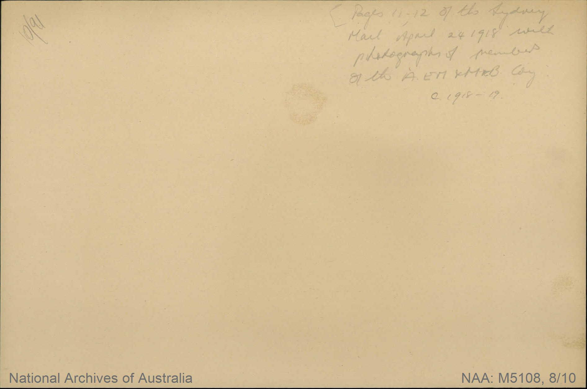 Records of Major Richard Victor Morse DSO (Distinguished Service Order) - page from The Sydney Mail, 'In the Ypres Salient: Fall of Bailleul', including photographs of members of the Australian Electrical and Mechanical Mining and Boring Company and other Australian miners and borers - pp 11-12