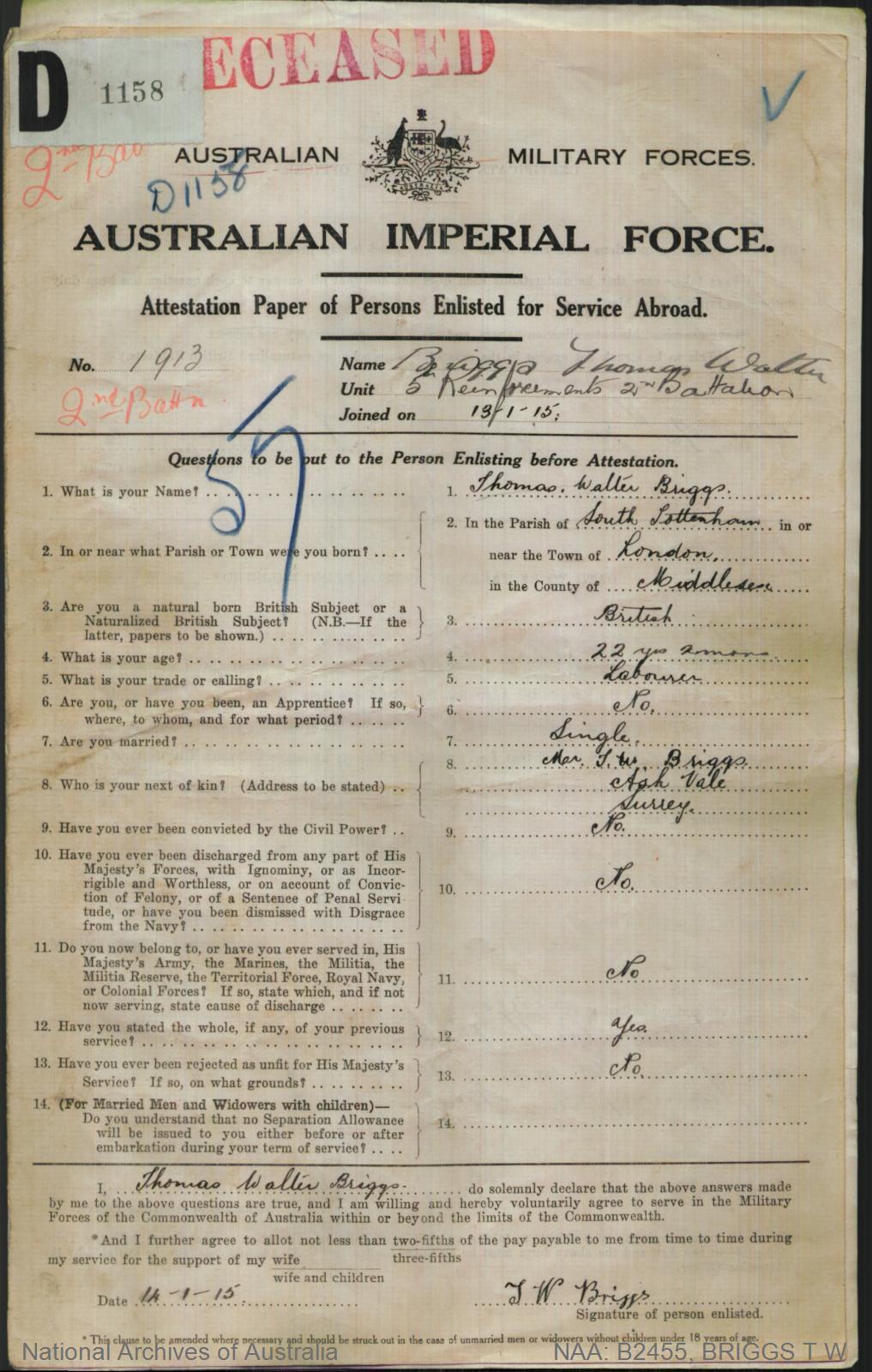 Briggs Thomas Walter : SERN 1913 : POB London England : POE Liverpool NSW : NOK F Briggs T W