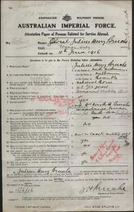 Bruche Julius Henry : SERN COL : POB Melbourne VIC : POE N/A : NOK W Bruche Dorothy A