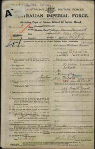 Brunier William Davies Trembath : SERN 6769A : POB Carlton VIC : POE Melbourne VIC : NOK F Brunier Fred Davies