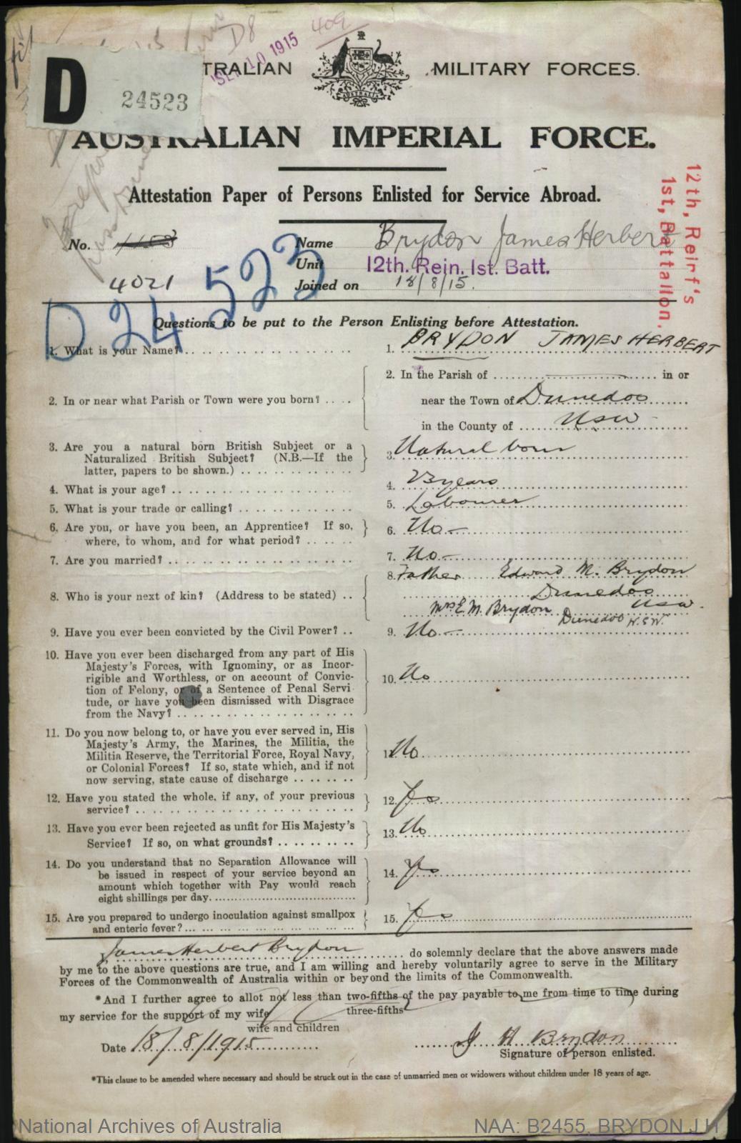 Brydon James Herbert : SERN 4021 4153 : POB Dunedoo NSW : POE Lithgow NSW : NOK F Brydon Edward M