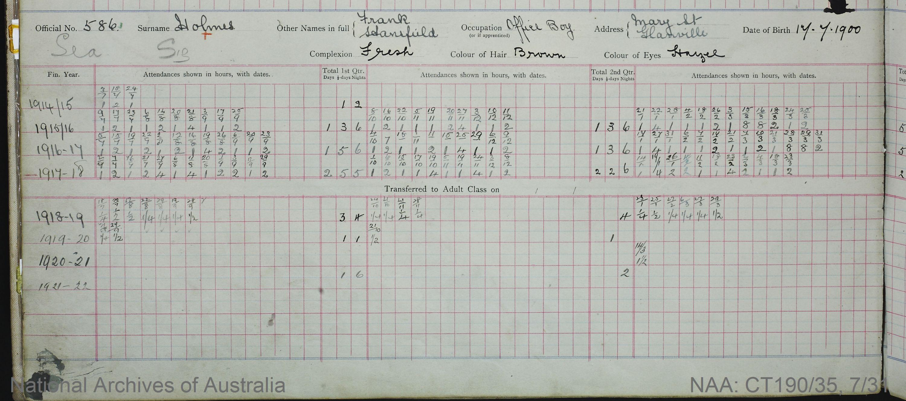 SURNAME - HOLMES;  GIVEN NAME(S) - Frank Stansfield;  OFFICIAL NUMBER - 586;  DATE OF BIRTH - 17 July 1900;  PLACE OF BIRTH - [Unknown];  NEXT OF KIN - [Unknown];  SERVICE/STATION - South Australia;  REGISTRATION DATE - 13 January 1914