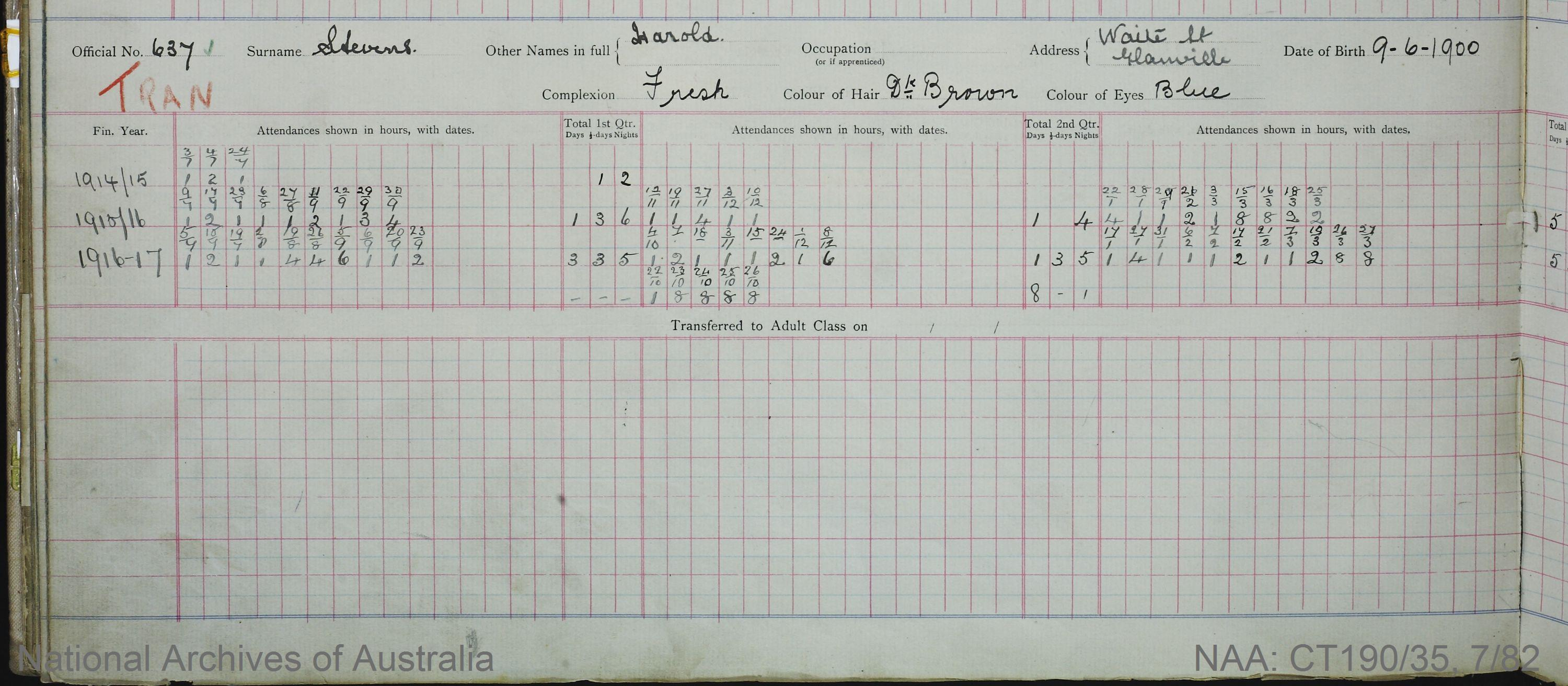 SURNAME - STEVENS;  GIVEN NAME(S) - Harold;  OFFICIAL NUMBER - 637;  DATE OF BIRTH - 9 June 1900;  PLACE OF BIRTH - [Unknown];  NEXT OF KIN - [Unknown];  SERVICE/STATION - South Australia;  REGISTRATION DATE - 24 February 1914