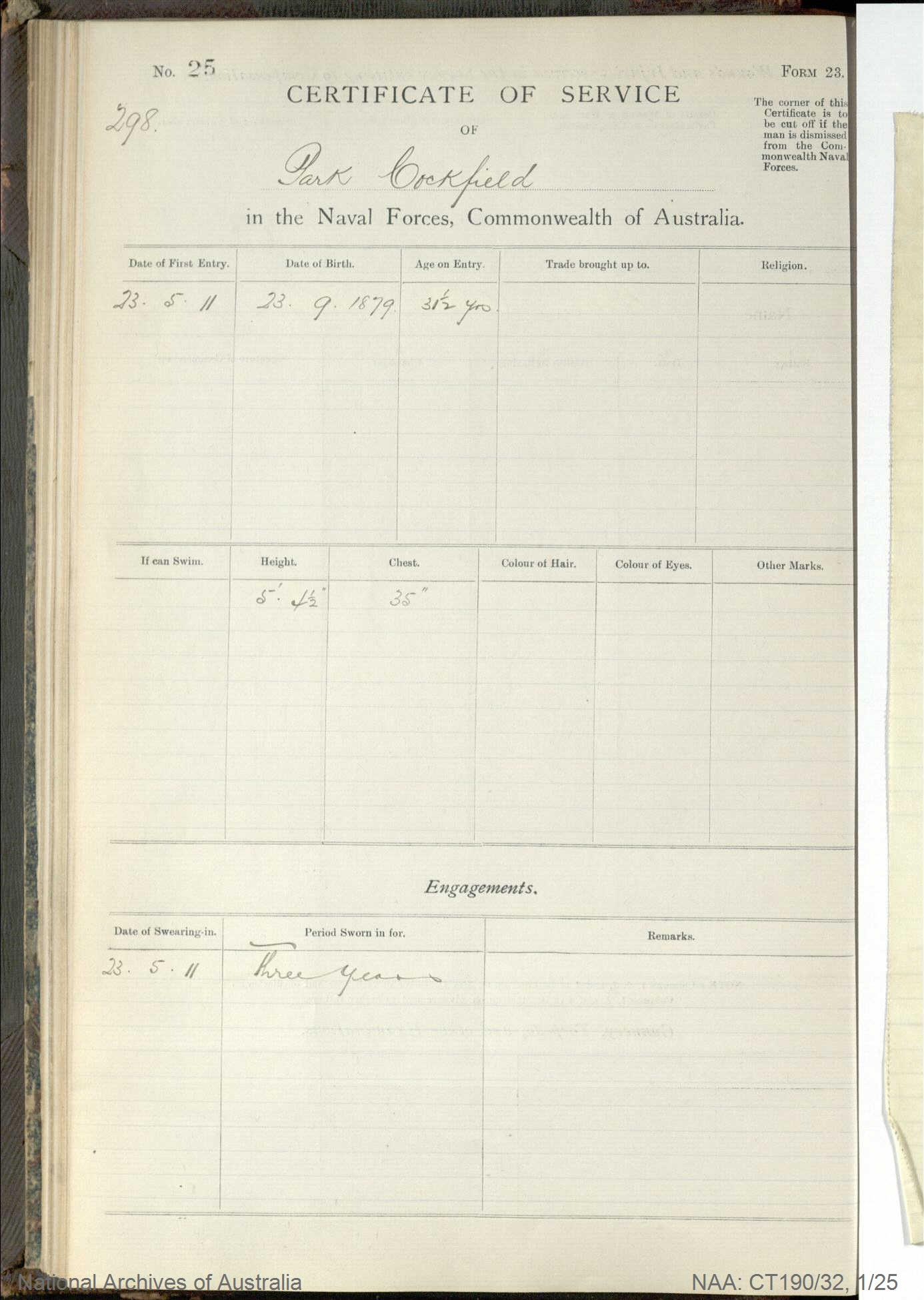 SURNAME - COCKFIELD;  GIVEN NAME(S) - Park;  OFFICIAL NUMBER - 298;  DATE OF BIRTH - 23 September 1897;  PLACE OF BIRTH - [Unknown];  NEXT OF KIN - [Unknown];  SERVICE/STATION - [Unknown];  REGISTRATION DATE - [Unknown]