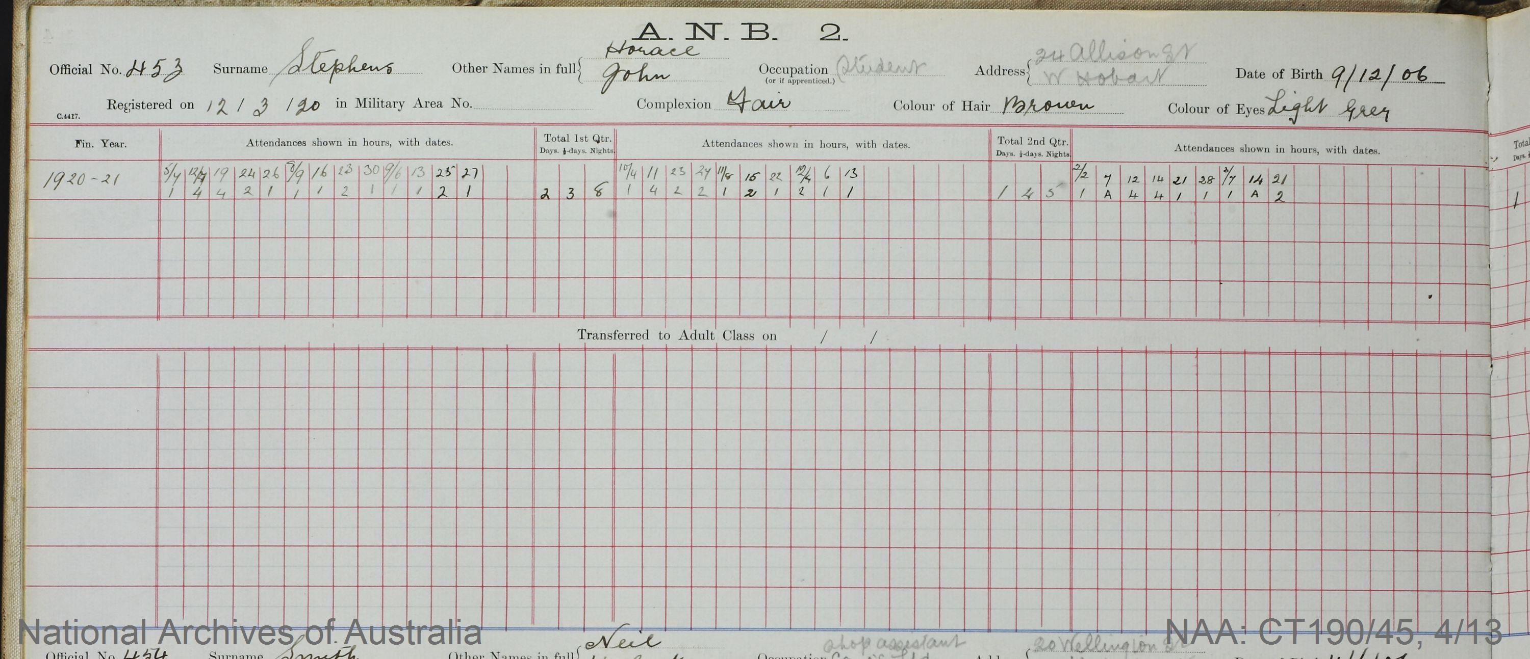 SURNAME - STEPHENS;  GIVEN NAME(S) - Horace John;  OFFICIAL NUMBER - 453;  DATE OF BIRTH - 9 December 1906;  PLACE OF BIRTH - [Unknown];  NEXT OF KIN - [Unknown];  SERVICE/STATION -Tasmania;  REGISTRATION DATE - 12 March 1920