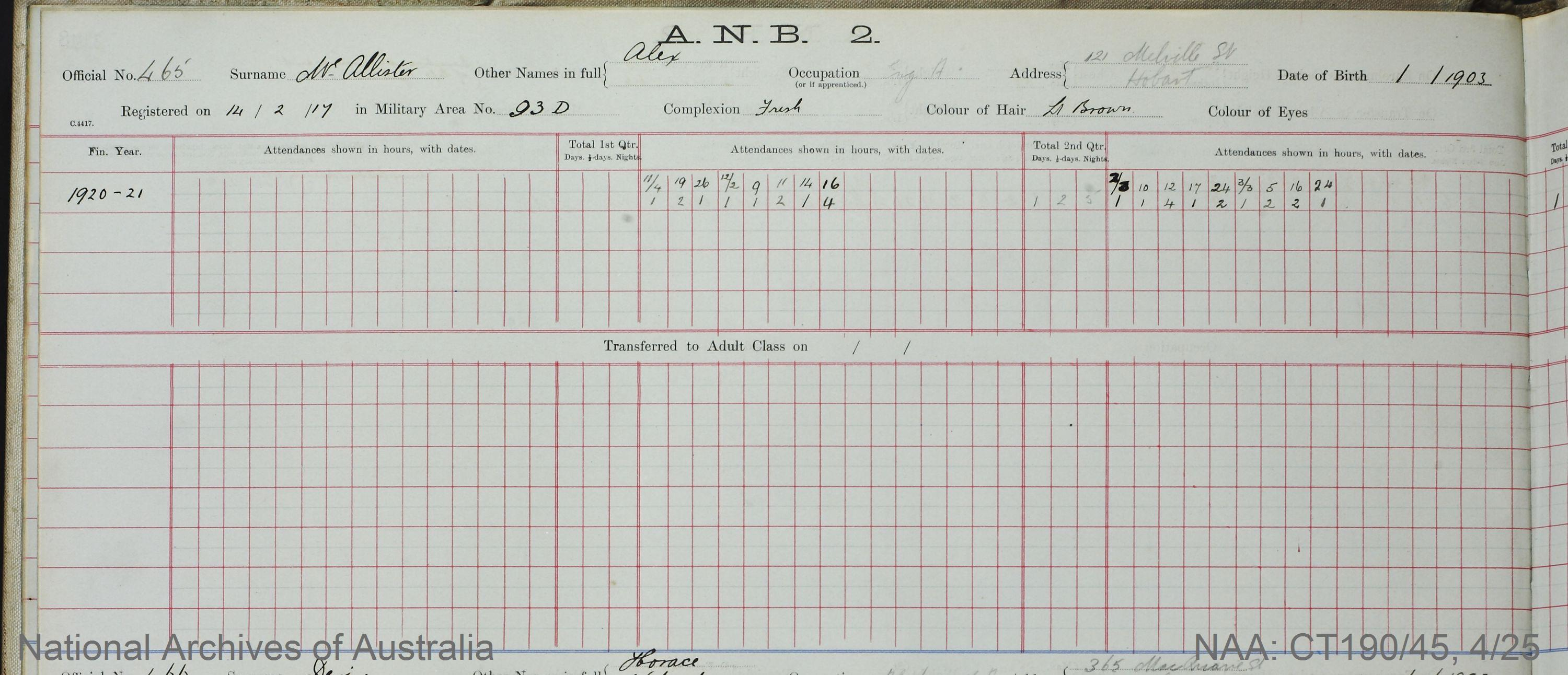 SURNAME - McALLISTER;  GIVEN NAME(S) - Alex;  OFFICIAL NUMBER - 465;  DATE OF BIRTH - 1903;  PLACE OF BIRTH - [Unknown];  NEXT OF KIN - [Unknown];  SERVICE/STATION -Tasmania;  REGISTRATION DATE - 14 February 1917