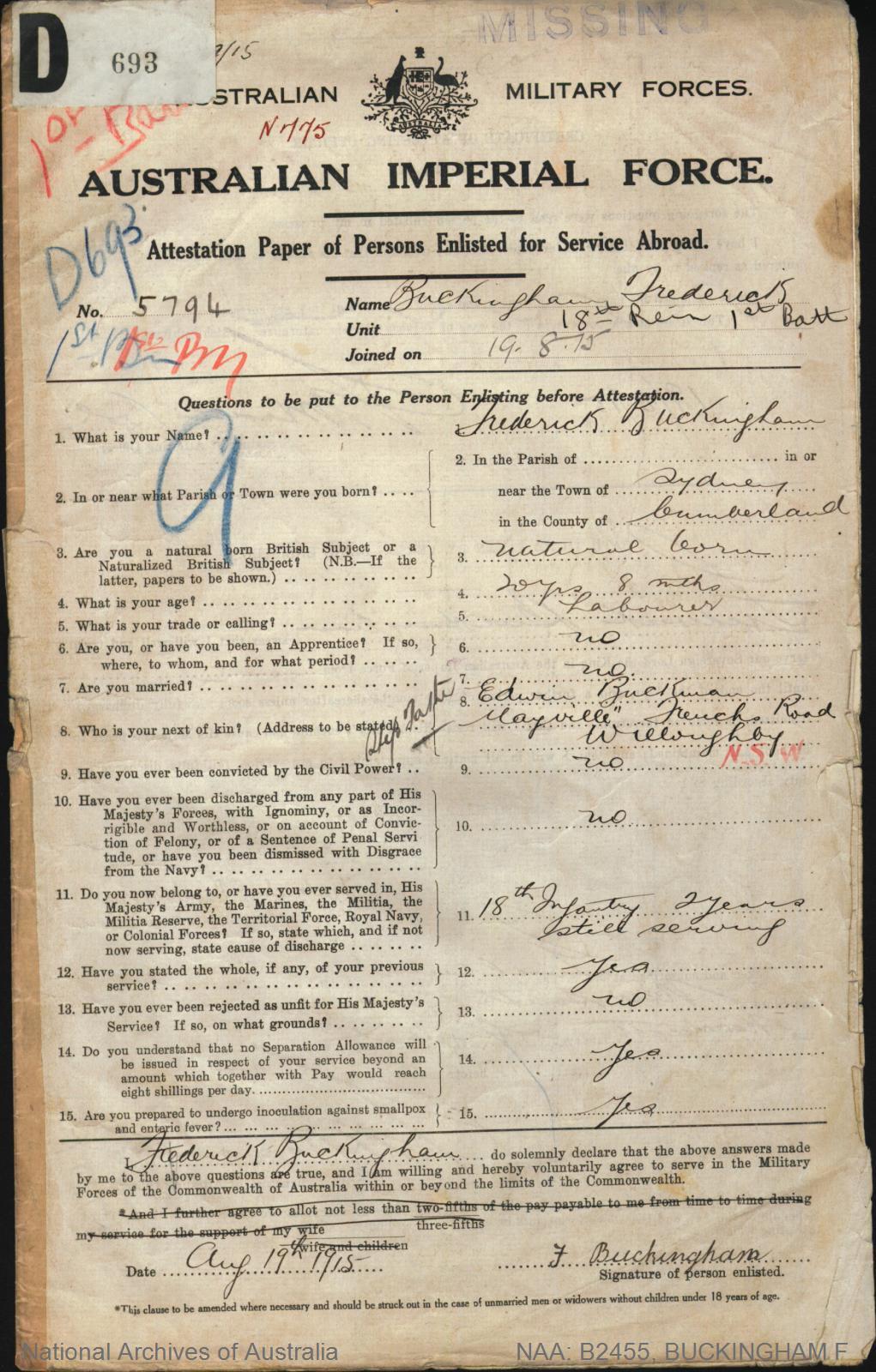 Buckingham Frederick : SERN 5794 : POB Sydney NSW : POE Goulburn NSW : NOK Buckman Edwin