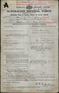 Burford William Robert : SERN 1898 : POB Warooka SA : POE Keswick SA : NOK M Burford Emily