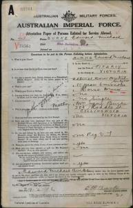 Burke Edward Michael : SERN 837 : POB Fitzroy VIC : POE Melbourne VIC : NOK M Burke Jane