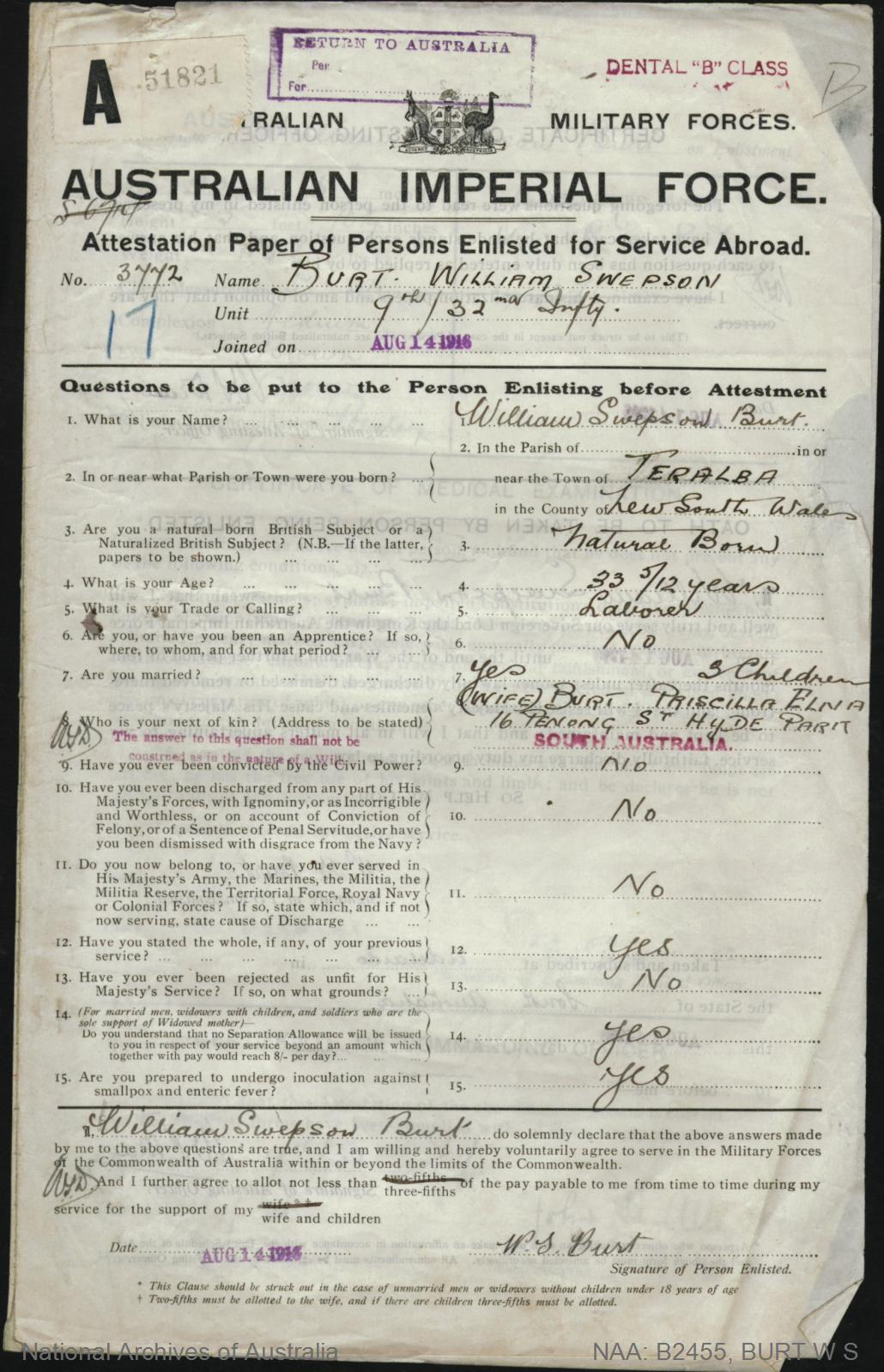 Burt William Swepson : SERN 3772 : POB Teralba NSW : POE Adelaide SA : NOK W Burt Priscilla Elna
