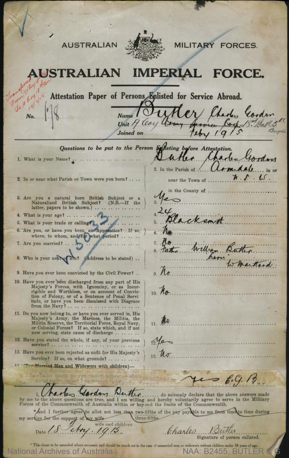 Butler Charles Gordon : SERN LIEUT 178 : POB Armidale NSW : POE Liverpool NSW : NOK F Butler William