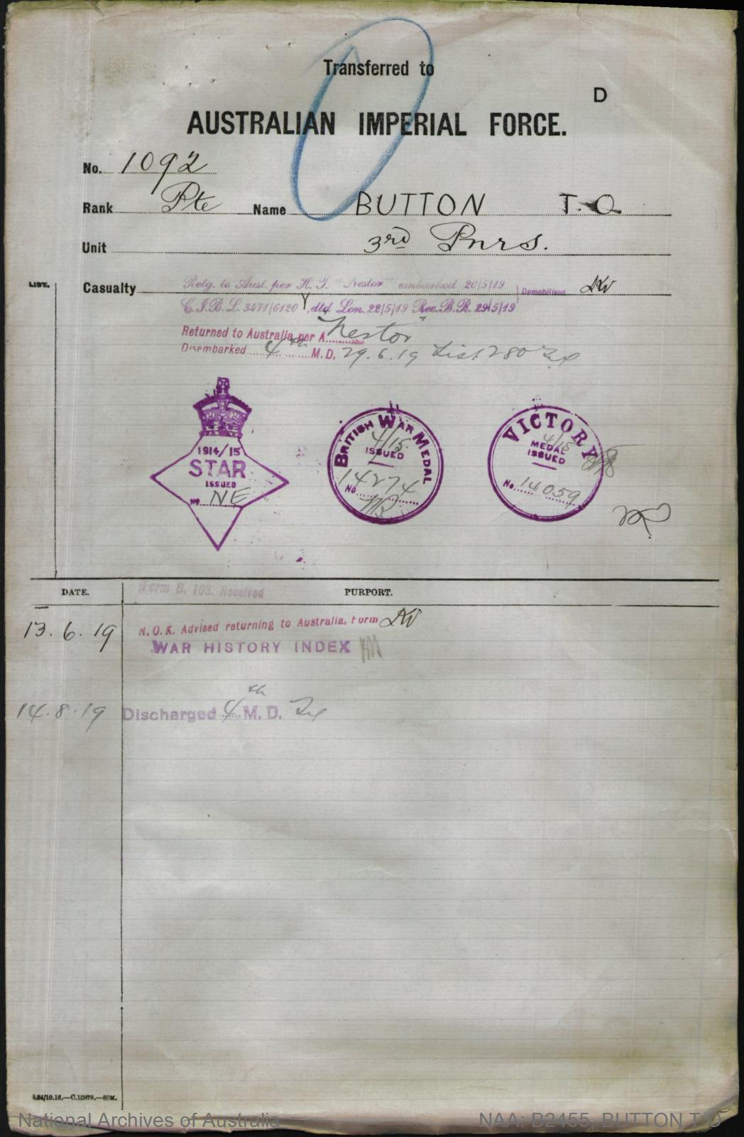 Button Theodore Orlando : SERN 1092 : POB Minlaton SA : POE Adelaide SA : NOK M Button Elizabeth