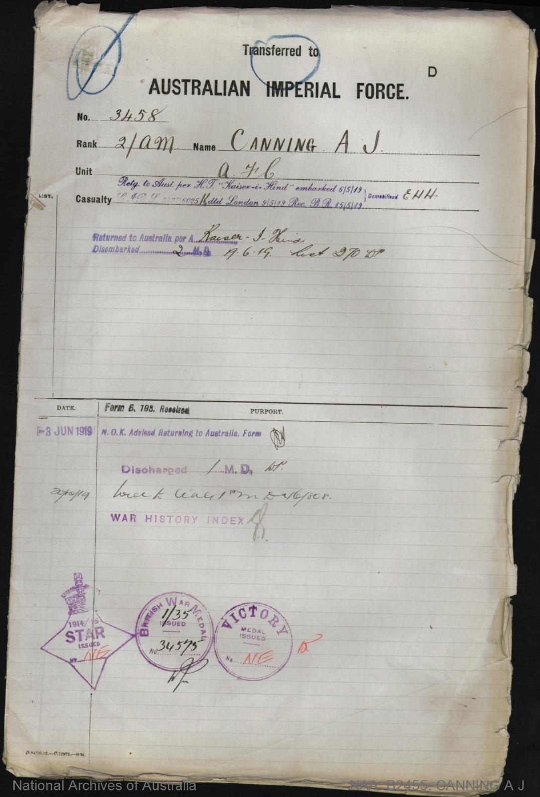 Canning Allan Johnstone : SERN 3458 : POB Paisley Scotland : POE Rockhampton QLD : NOK W Canning Mary Logan