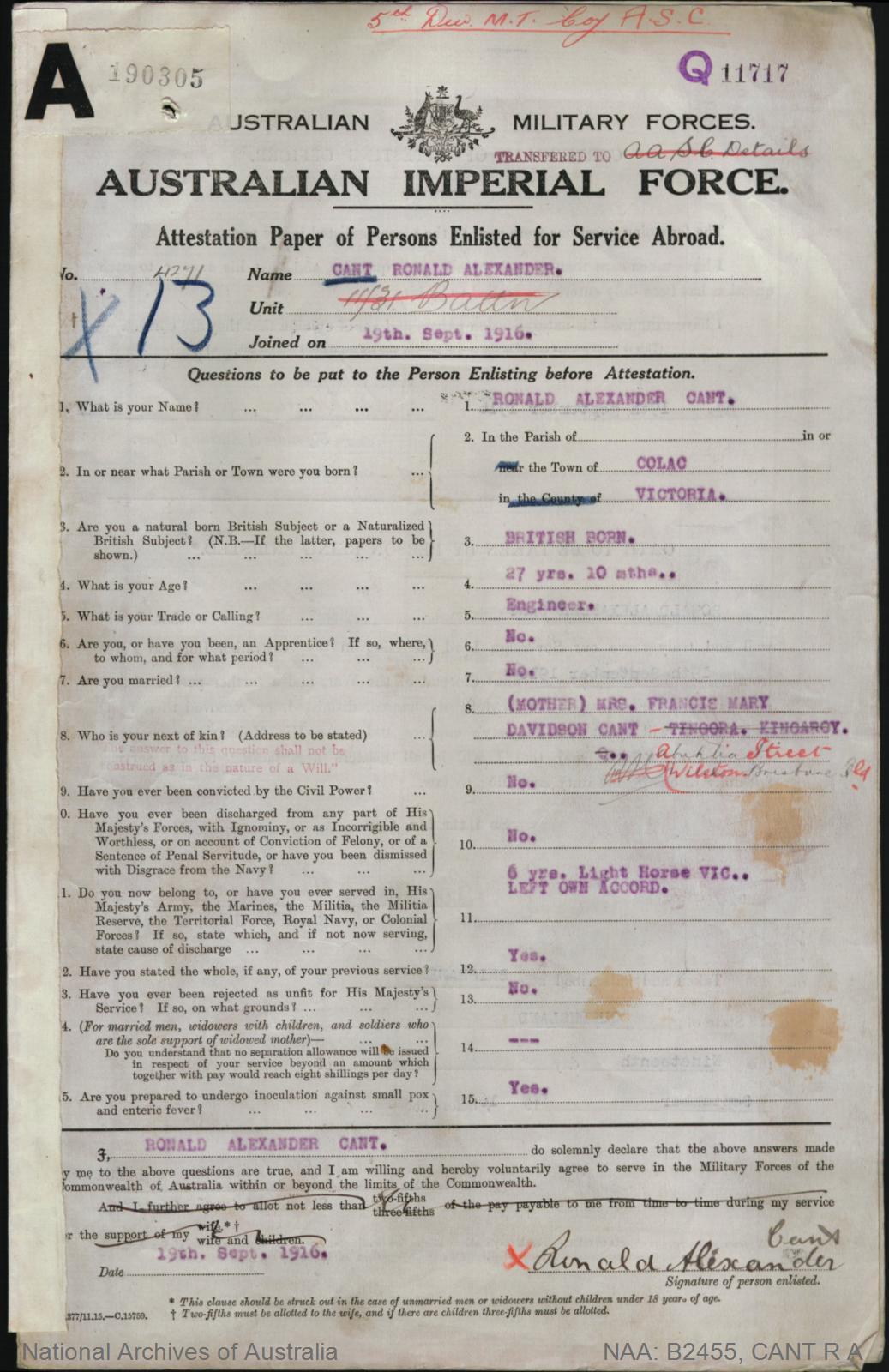 Cant Ronald Alexander : SERN 4271 : POB Colac VIC : POE Brisbane QLD : NOK M Cant Francis Mary Davidson