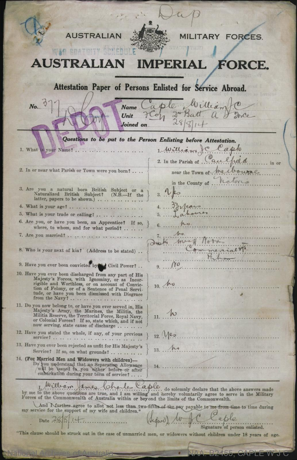 Caple William James Charles : SERN DEPOT 377 : POB Melbourne VIC : POE Randwick NSW : NOK S Norris H