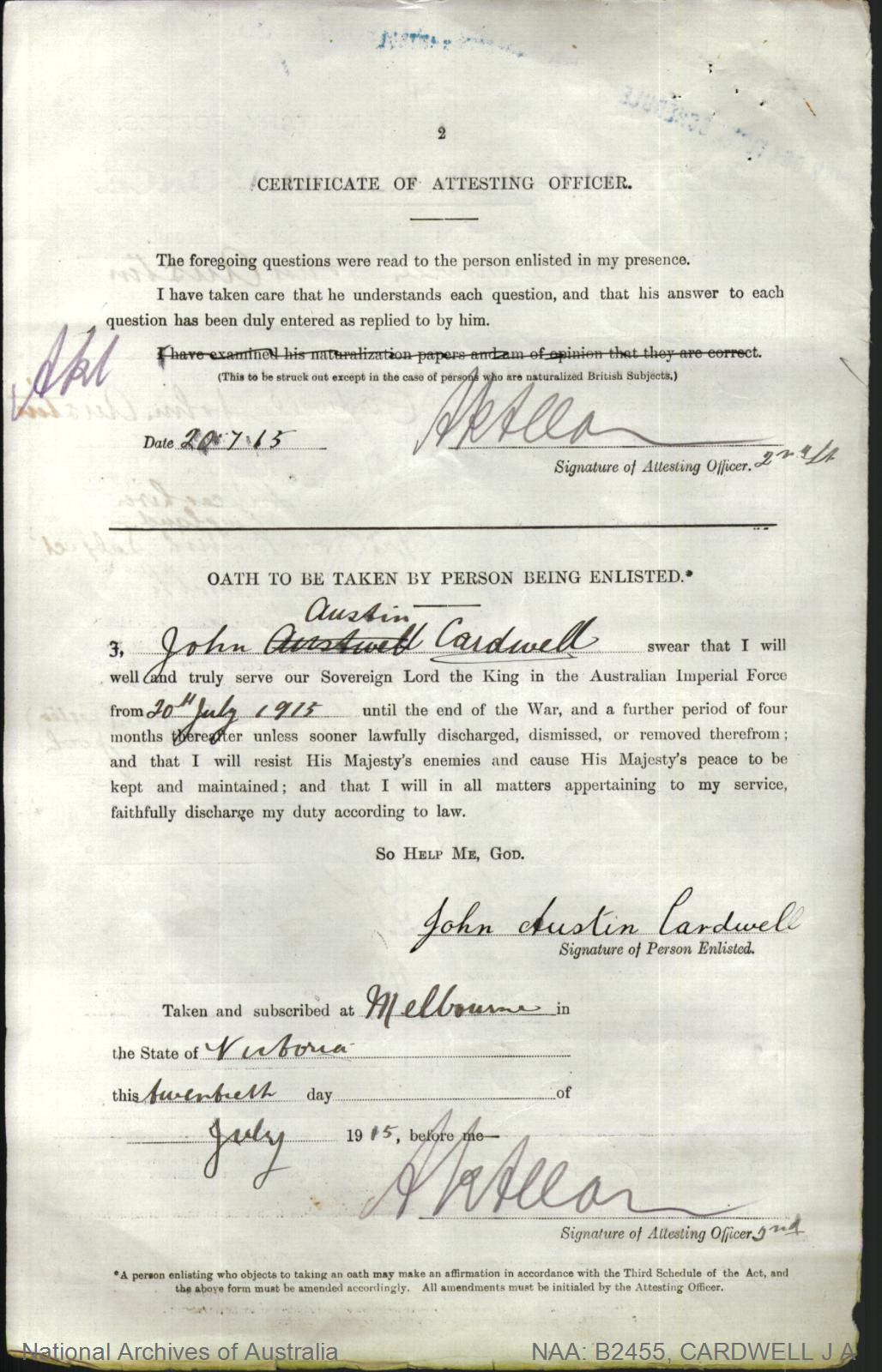Cardwell John Austin : SERN DEPOT : POB Wigan England : POE Melbourne VIC : NOK S Cardwell Winefred Freda