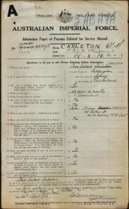 Carleton Clive Salkeld : SERN 29061 : POB Sydney NSW : POE Marrickville NSW : NOK F Carleton Thomas
