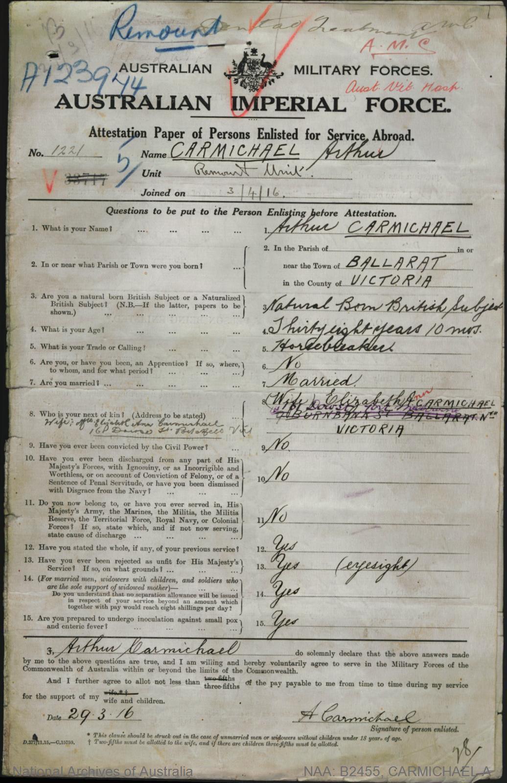 Carmichael Arthur : SERN 1221 : POB Ballarat VIC : POE Melbourne VIC : NOK W Carmichael Elizabeth Ann