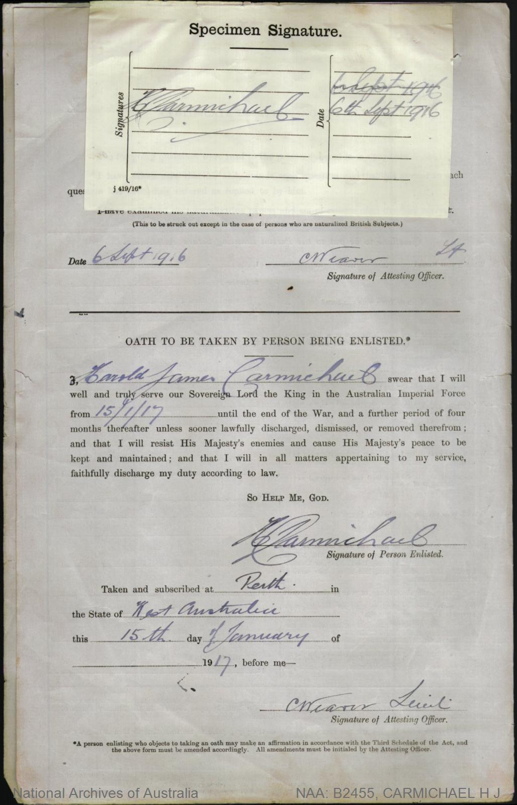 Carmichael Harold James : SERN 18256 : POB Perth WA : POE Perth WA : NOK M Carmichael Rebecca