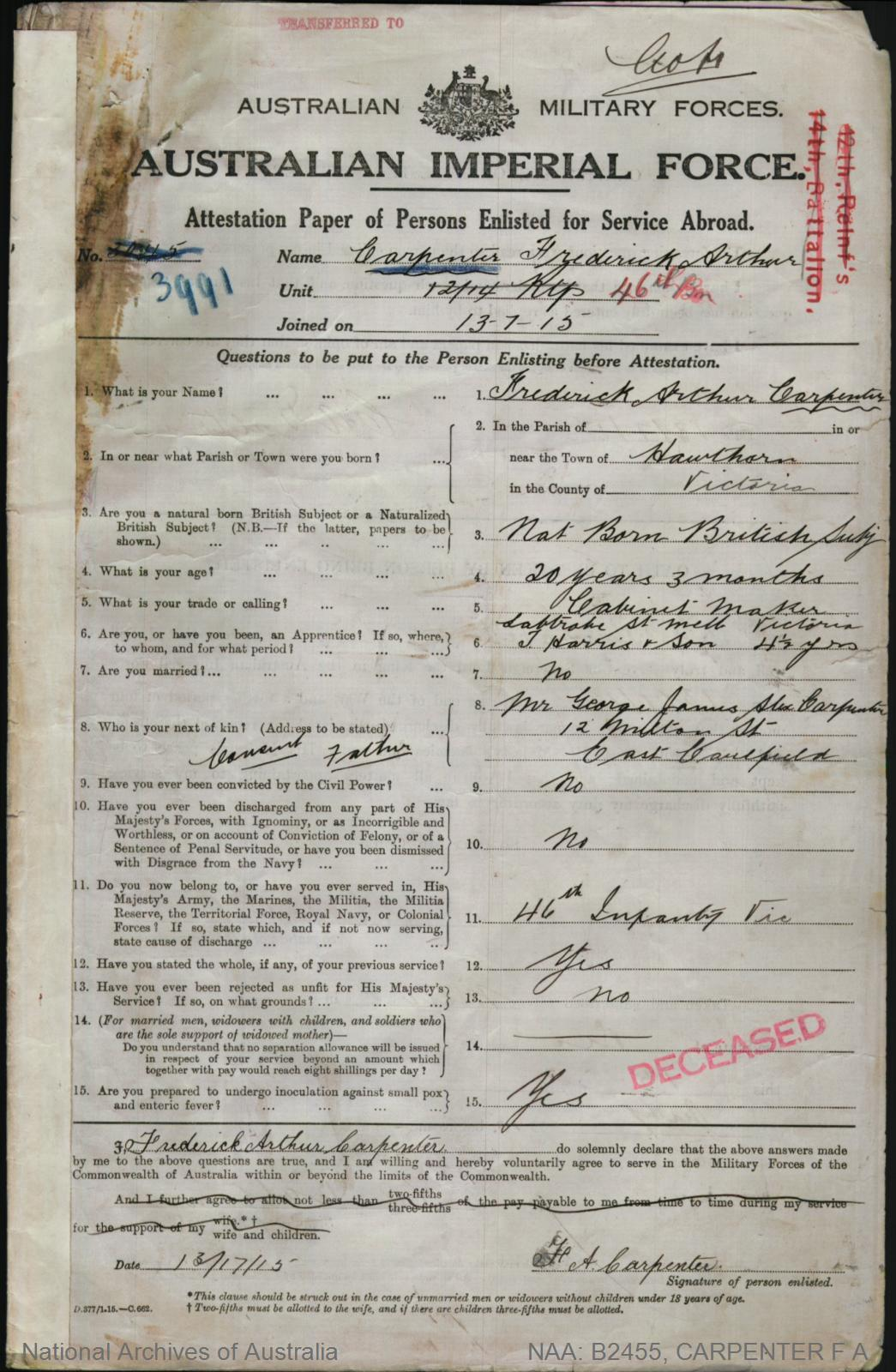 Carpenter Frederick Arthur : SERN 3991 : POB Hawthorn VIC : POE Melbourne VIC : NOK F Carpenter George James Alex