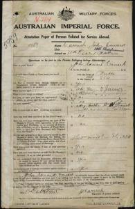 Carrick John Edward : SERN 5989 : POB Bulli NSW : POE Thirroul NSW : NOK W Carrick Ada